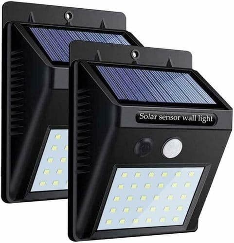 2 x LED Solar Powered Wireless Outdoor Security Patio Garden Wall Fence Lights